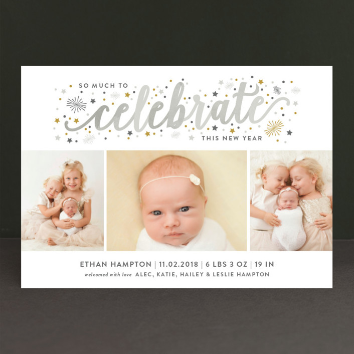 """Much to Celebrate"" - Holiday Birth Announcements in Seafoam by Sarah Guse Brown."