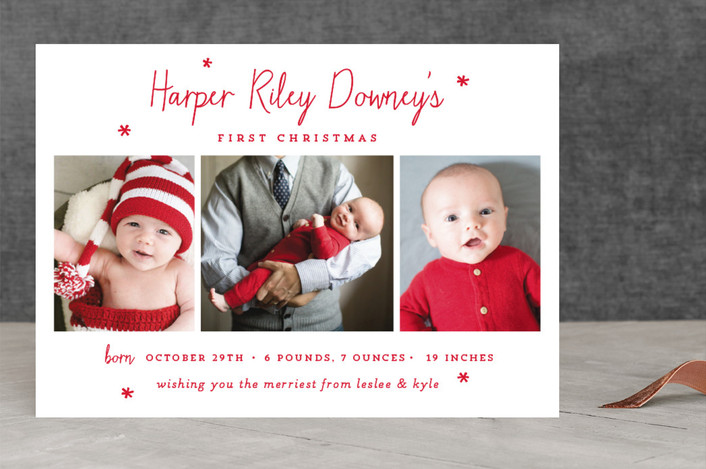 """Baby's First Christmas"" - Holiday Birth Announcements in christmas classic by Sara Hicks Malone."