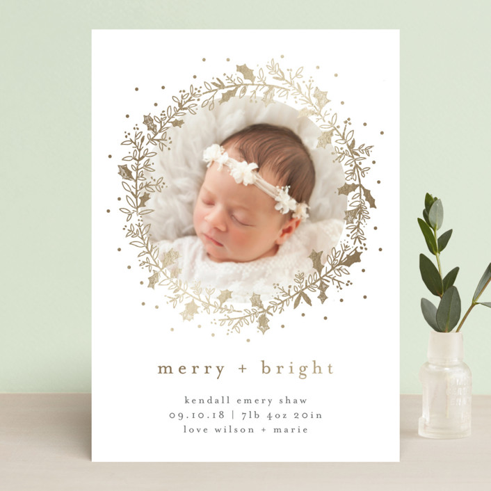 """Holly Jolly and Bright"" - Holiday Birth Announcements in Sand by Bethan."