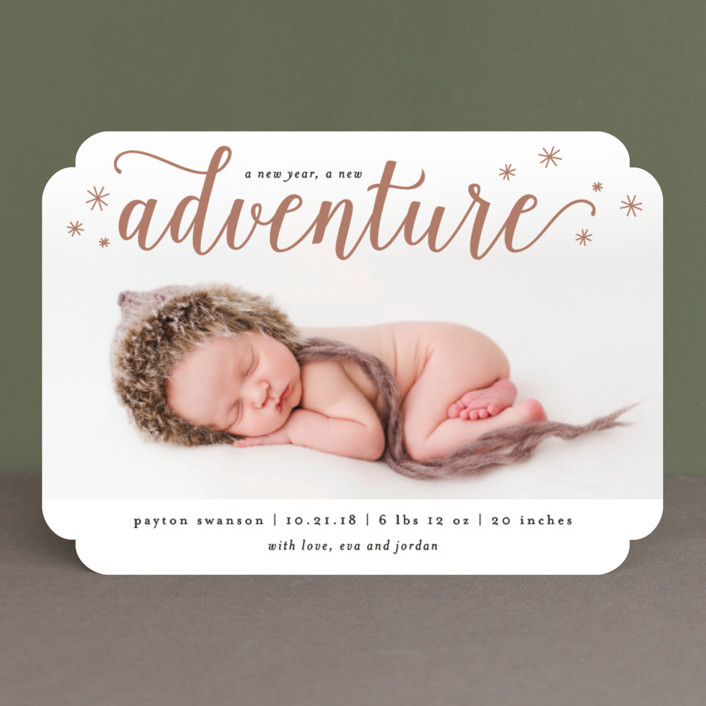 """A New Adventure"" - Bohemian Holiday Birth Announcements in Dusty Rose by Kelly Schmidt."