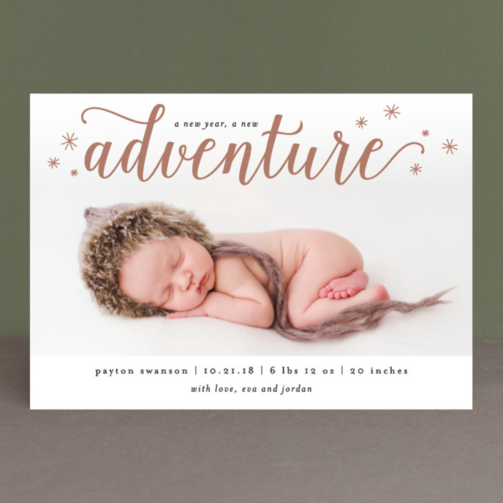 A New Adventure Holiday Birth Announcements by Kelly Schmidt – New Years Birth Announcements