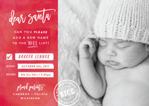 New Name on the List Holiday Birth Announcements By Hooray Creative
