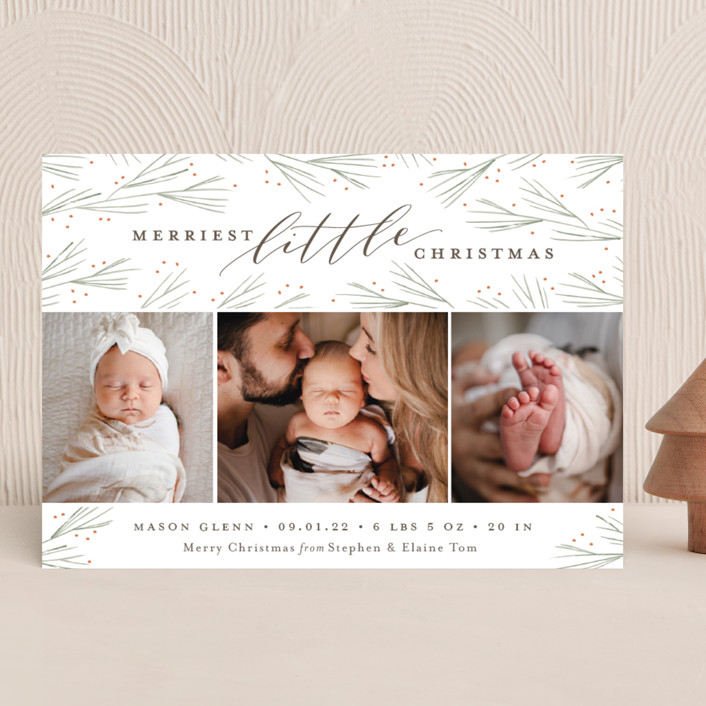 """""""Merriest Little Christmas"""" - Holiday Birth Announcements in Pine by Sarah Brown."""