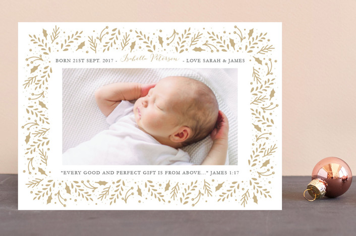 """Gilded Branches"" - Holiday Birth Announcements in Toasty by Oma N. Ramkhelawan."