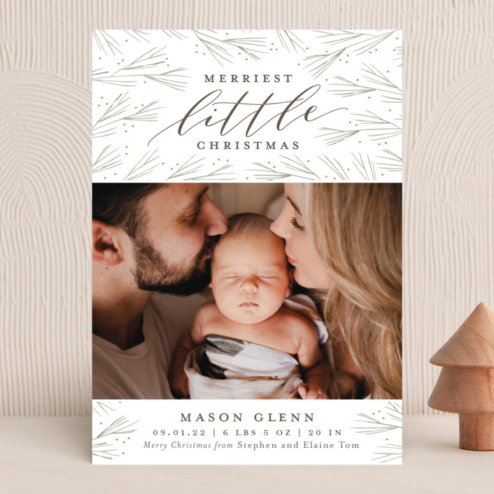 """Merriest Little Christmas"" - Holiday Birth Announcements in Pine by Sarah Guse Brown."