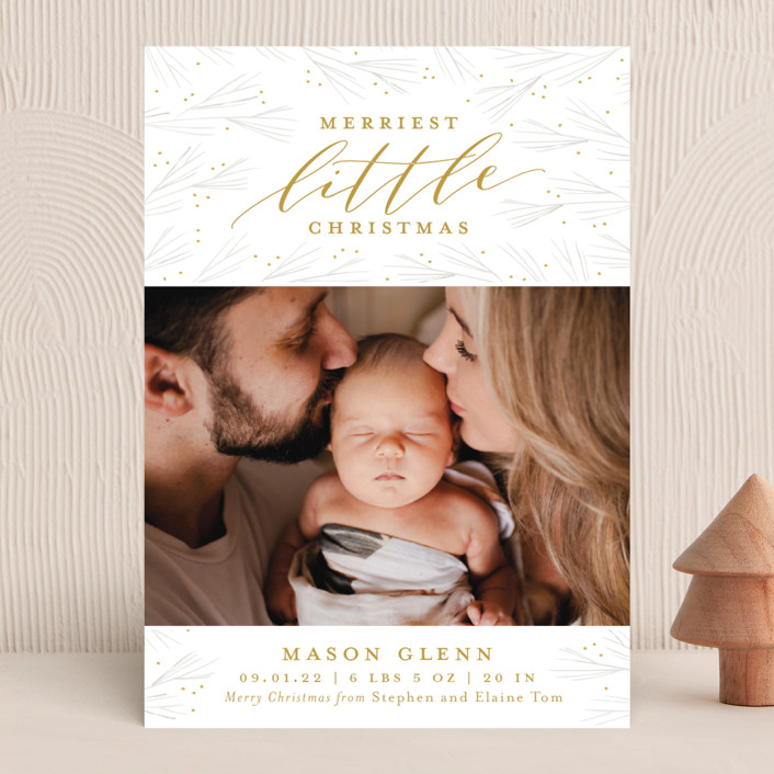 """Merriest Little Christmas"" - Holiday Birth Announcements in Pine by Sarah Brown."