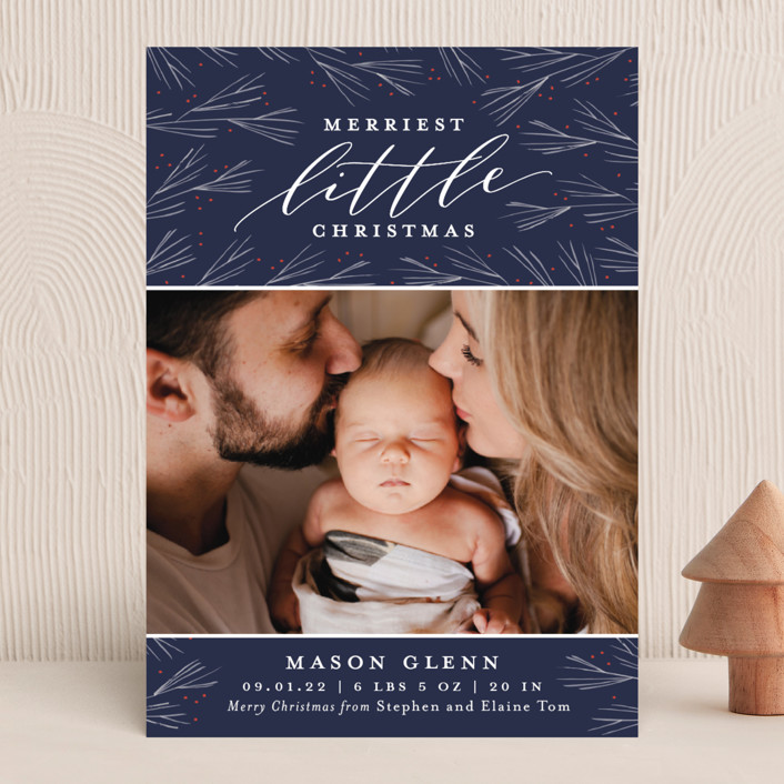 """""""Merriest Little Christmas"""" - Holiday Birth Announcements in Winterberry by Sarah Brown."""