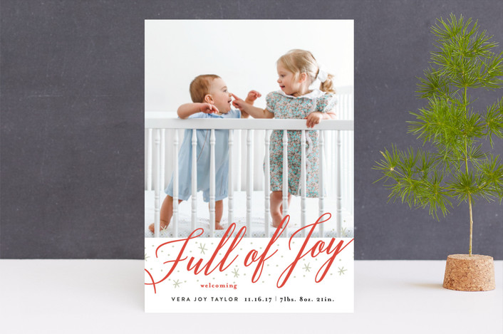 """Full of Joy Sparkle"" - Holiday Birth Announcements in Candy Cane by Alethea and Ruth."