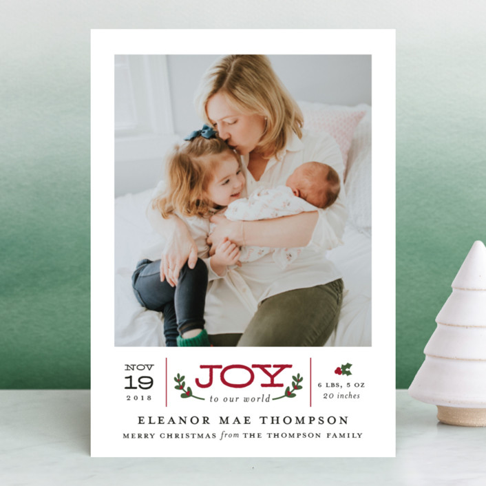 """Joy to Our World"" - Holiday Birth Announcements in Holly by Sarah Guse Brown."