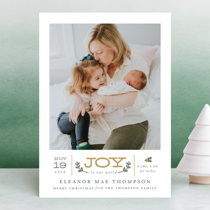 """""""Joy to Our World"""" - Holiday Birth Announcements in Golden by Sarah Brown."""