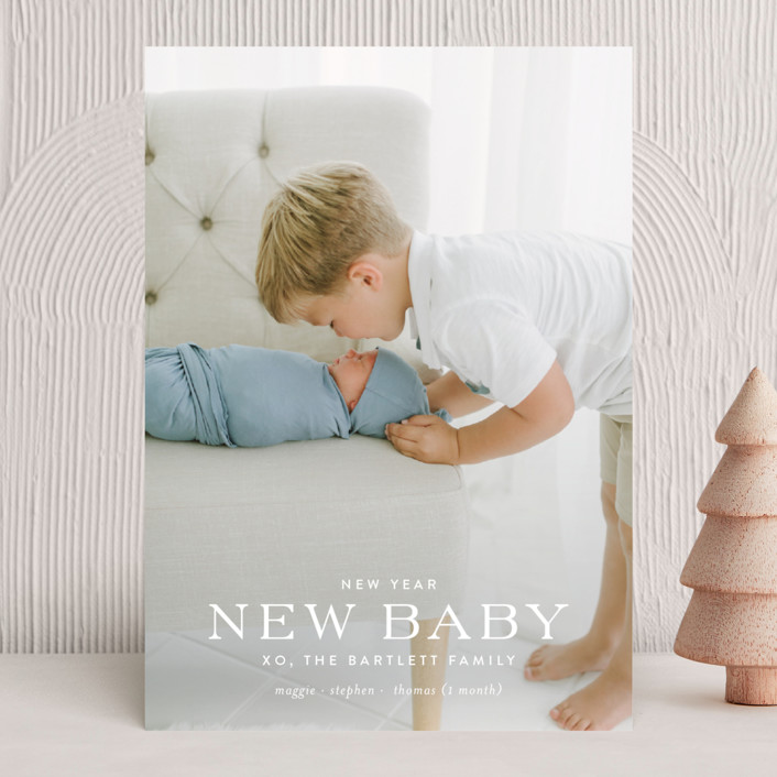 """party of more"" - Holiday Birth Announcements in Snowflake by Toast & Laurel."