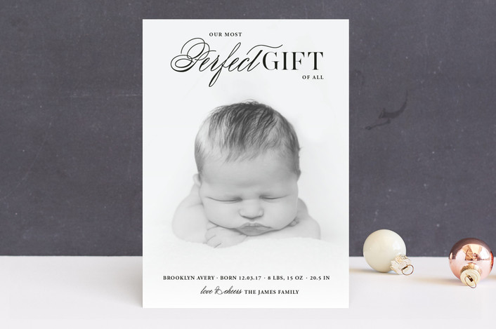 """""""God's Perfect Gift"""" - Holiday Birth Announcements in Ink by fatfatin."""
