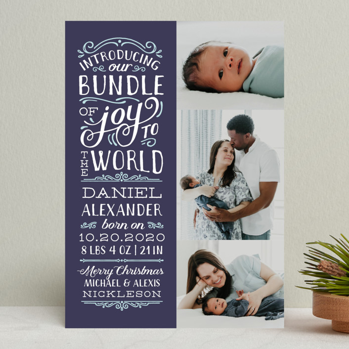 """Bundle of Joy to the World"" - Holiday Birth Announcements in Navy by Sarah Guse Brown."