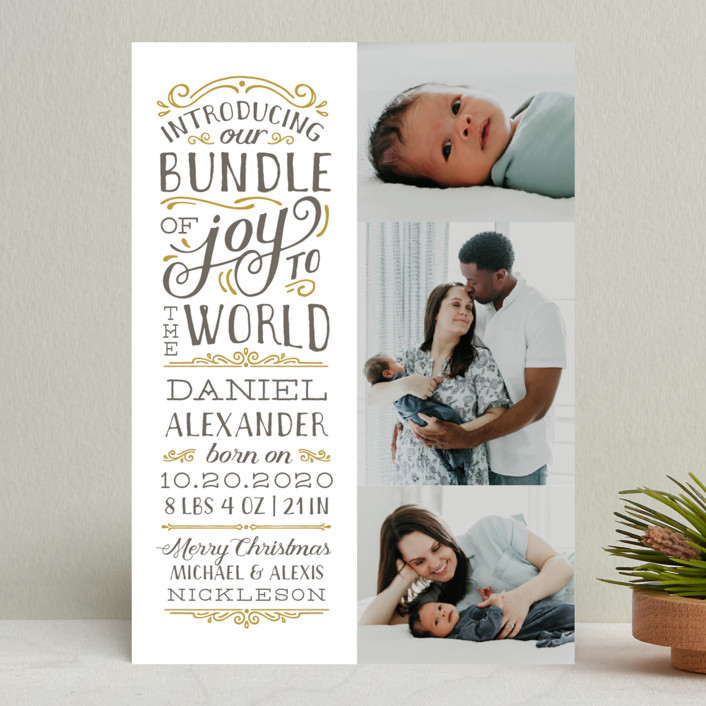 """""""Bundle of Joy to the World"""" - Holiday Birth Announcements in Blush by Sarah Brown."""