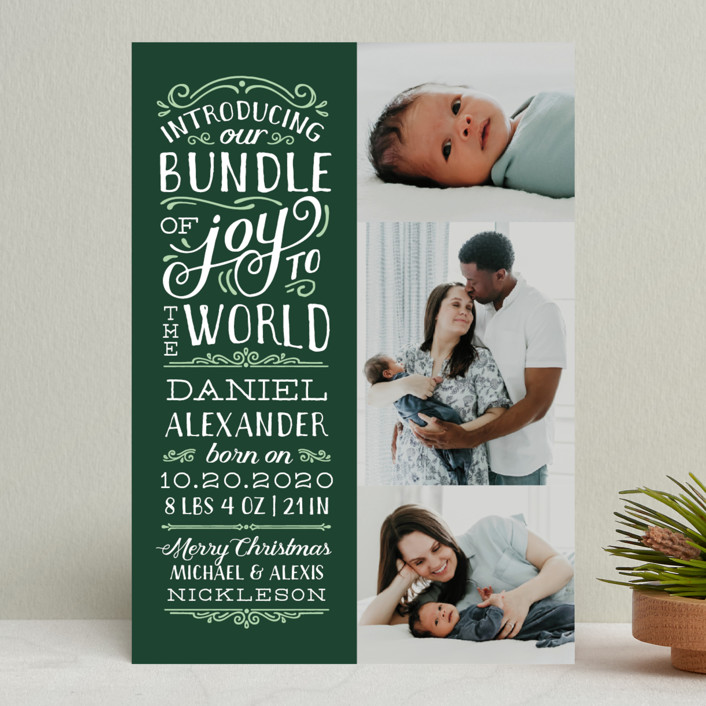 """""""Bundle of Joy to the World"""" - Holiday Birth Announcements in Navy by Sarah Brown."""