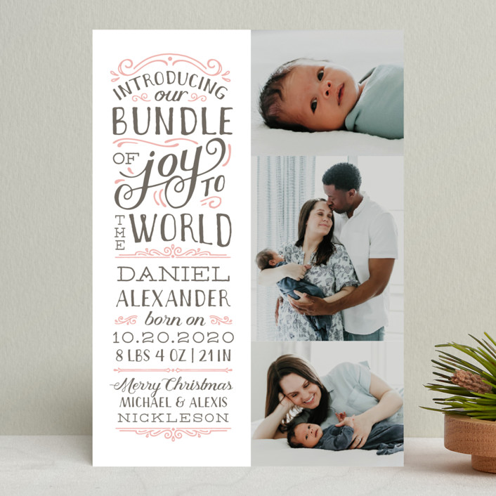 """Bundle of Joy to the World"" - Holiday Birth Announcements in Blush by Sarah Brown."