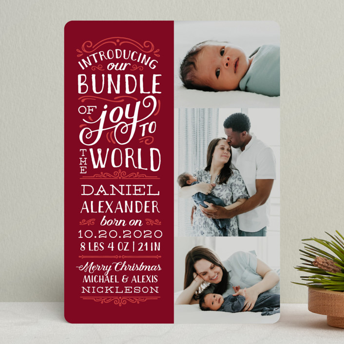 """""""Bundle of Joy to the World"""" - Vintage Holiday Birth Announcements in Holly by Sarah Brown."""