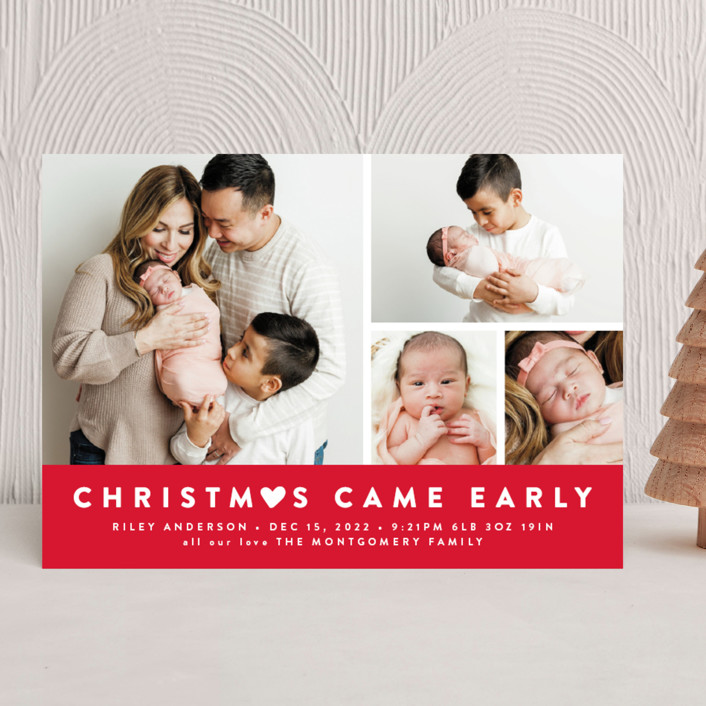 """Our Little World"" - Holiday Birth Announcements in Berry by roxy."