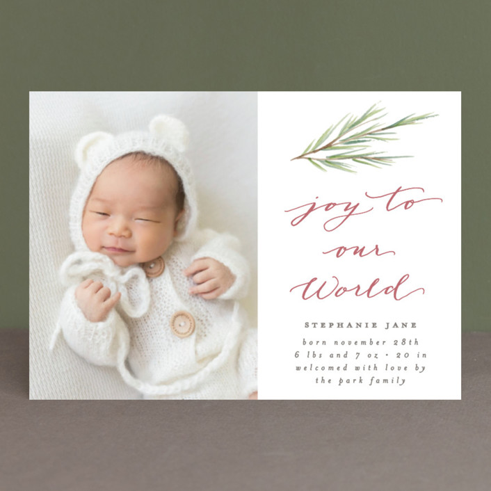 """Our World"" - Holiday Birth Announcements in Pewter by Everett Paper Goods."