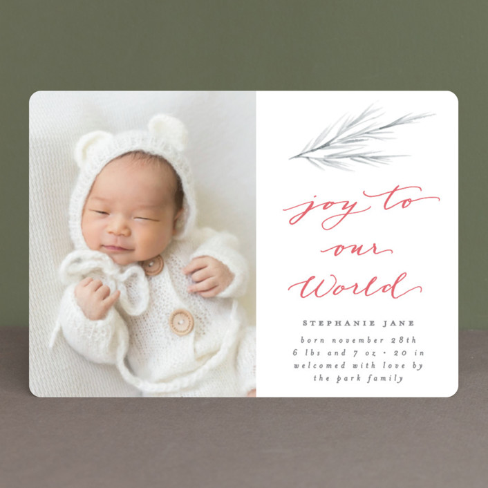 """""""Our World"""" - Holiday Birth Announcements in Pewter by Everett Paper Goods."""