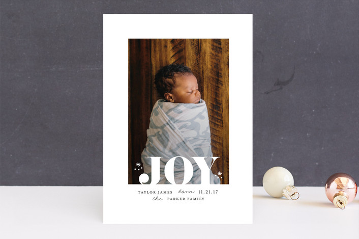 """Joy white space"" - Holiday Birth Announcements in Pearl by iamtanya."