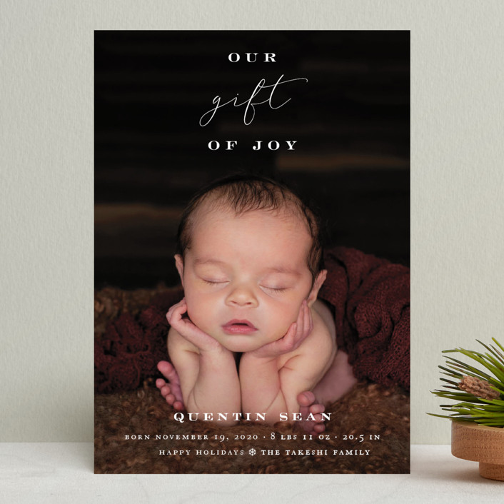 """Our Gift Of Joy"" - Holiday Birth Announcements in Snow by fatfatin."