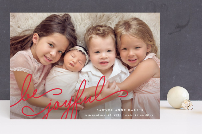 """""""Family Joy"""" - Holiday Birth Announcements in Snow by Jennifer Postorino."""