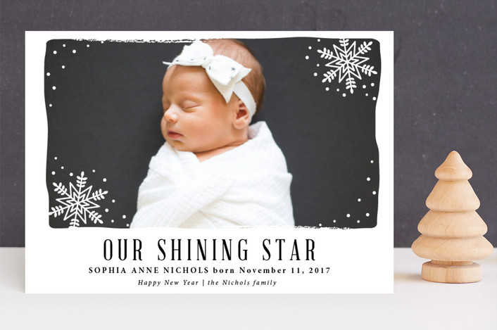"""Snowflakes"" - Holiday Birth Announcements in Snow by Kampai Designs."