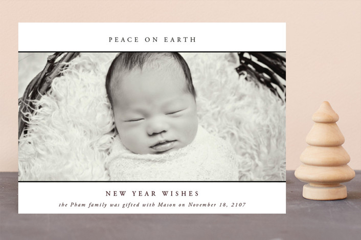 """""""With Merry Love"""" - Holiday Birth Announcements in Onyx by Kate Ross."""