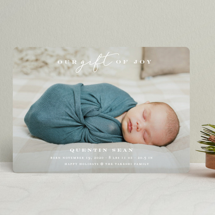 """""""Our Gift Of Joy"""" - Holiday Birth Announcements in Snow by fatfatin."""