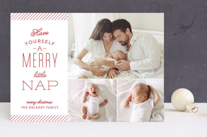 """Merry Little Nap"" - Holiday Birth Announcements in Berry by Sarah Guse Brown."