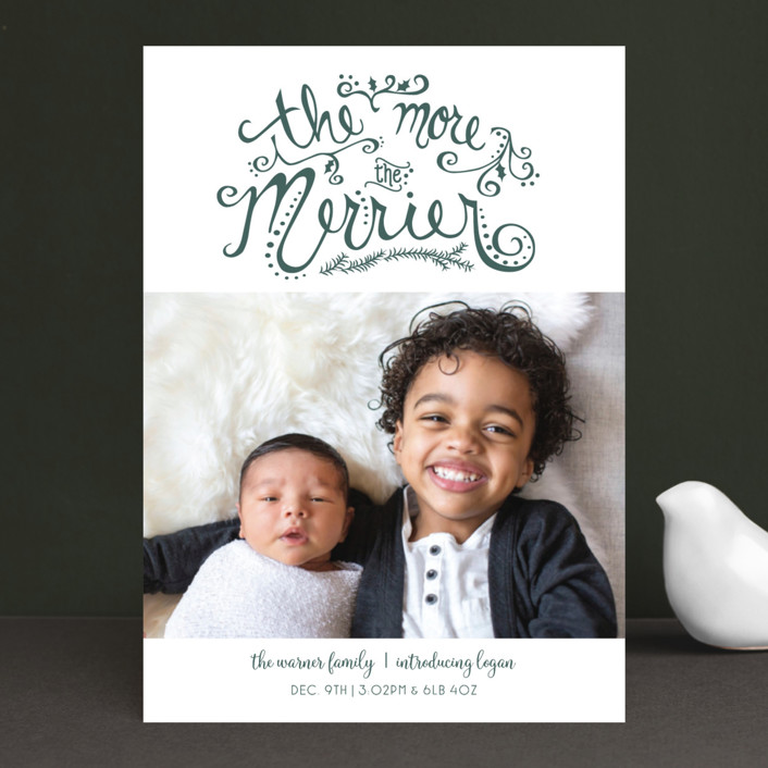 """More and Merrier"" - Holiday Birth Announcements in Pine by Amy Lee Creel."