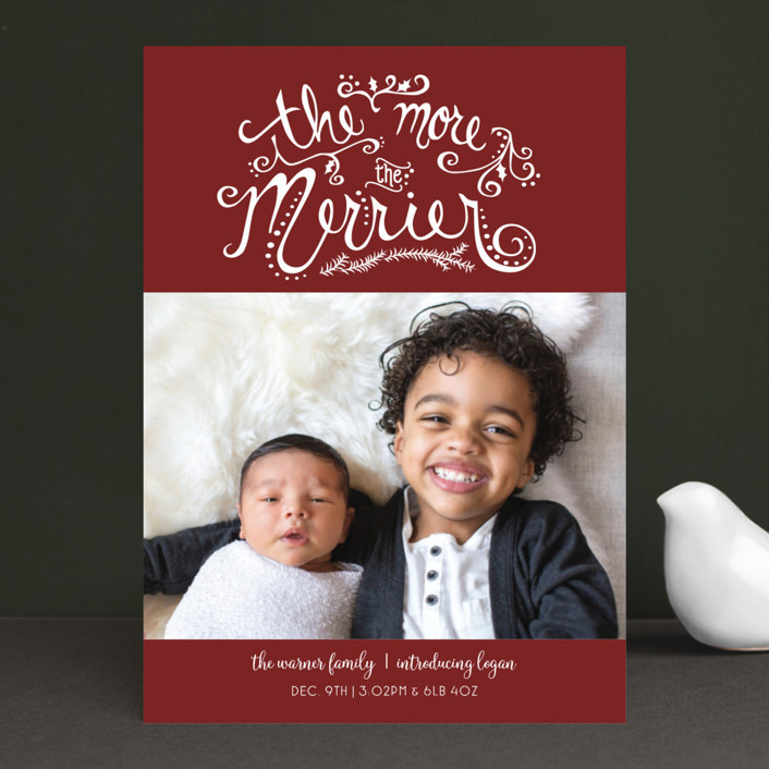 """""""More and Merrier"""" - Holiday Birth Announcements in Pine by Amy Lee Creel."""