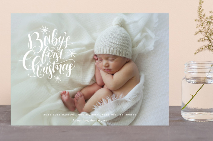 """Starry First"" - Holiday Birth Announcements in Snow by Snow and Ivy."