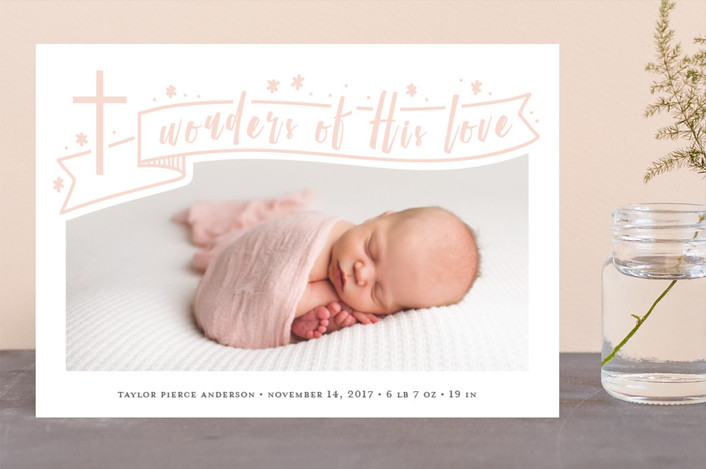 """""""And Wonders Of His Love"""" - Holiday Birth Announcements in Sugar by Julee London."""