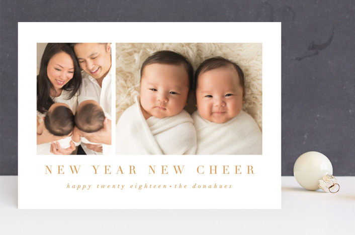 """new cheer"" - Holiday Birth Announcements in Golden by Angela Garrick."