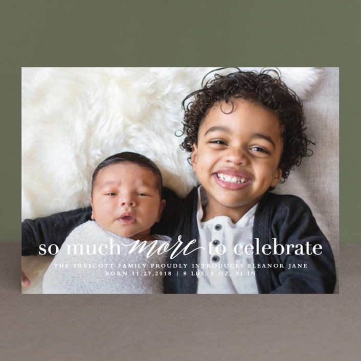 """More to celebrate"" - Holiday Birth Announcements in Tickled by Lea Delaveris."