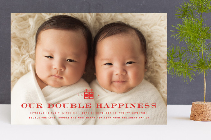 """Our Double Happiness"" - Holiday Birth Announcements in Firecracker by fatfatin."