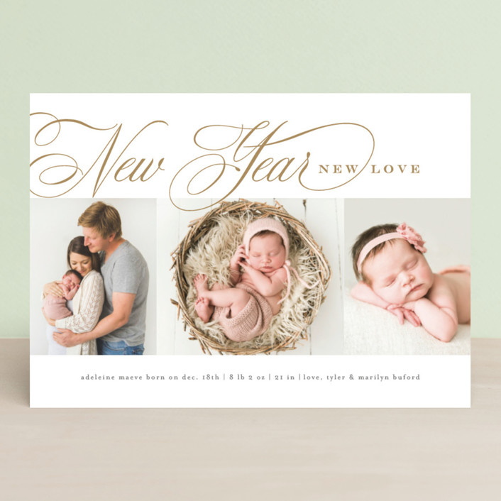 """""""Newly"""" - Holiday Birth Announcements in Golden by Amy Kross."""