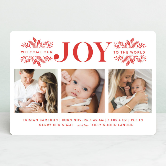 """Welcome Our Joy"" - Holiday Birth Announcements in Cherry by Coco and Ellie Design."