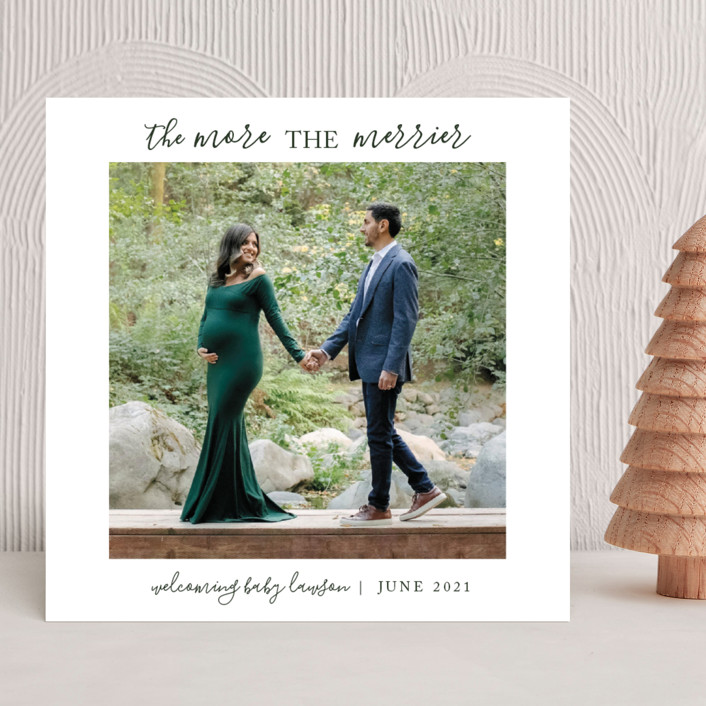 """""""The Merrier"""" - Holiday Birth Announcements in Evergreen by Kawelina Gomes."""