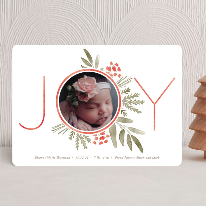 """Ultimate Joy"" - Holiday Birth Announcements in Berry by Oscar & Emma."