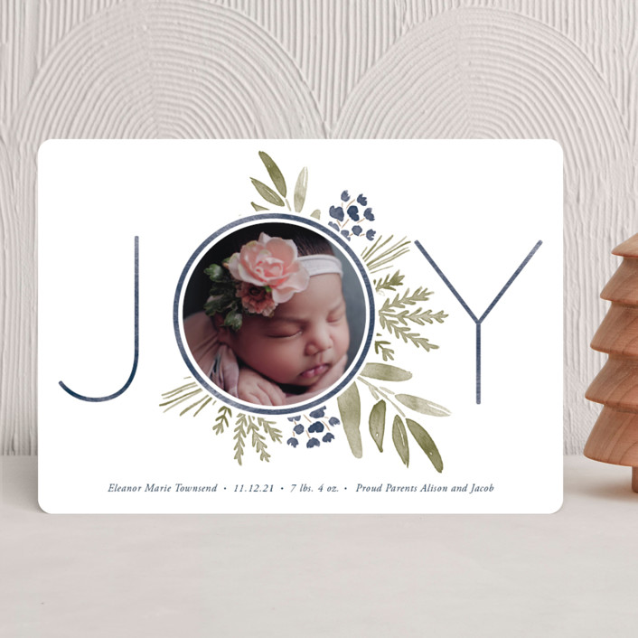 """""""Ultimate Joy"""" - Holiday Birth Announcements in Berry by Oscar and Emma."""