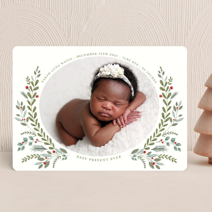 """Most Wonderful Time"" - Holiday Birth Announcements in Blush by Susan Moyal."