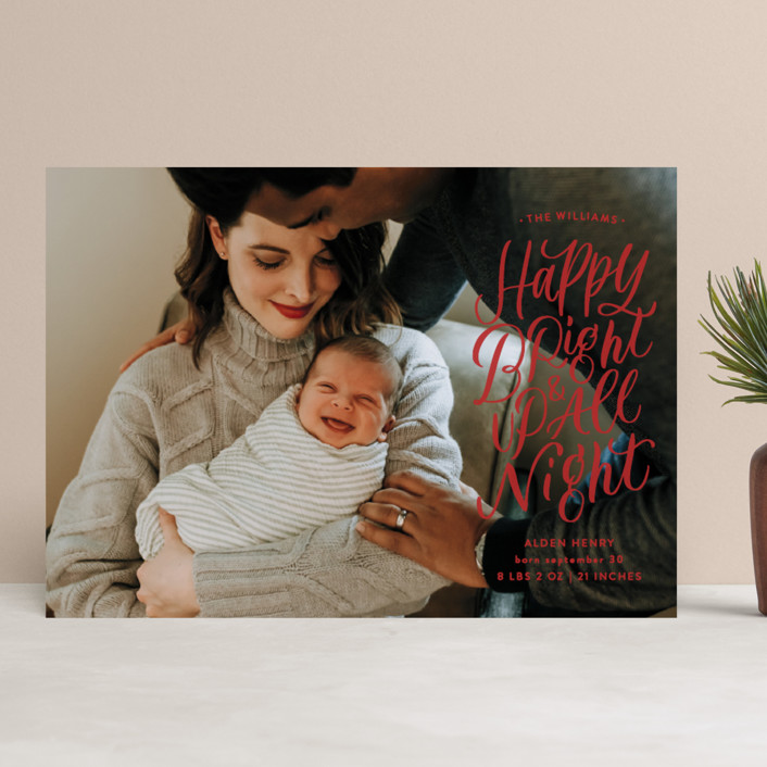 """""""Up All Night"""" - Holiday Birth Announcements in Holly by Erin L. Wilson."""