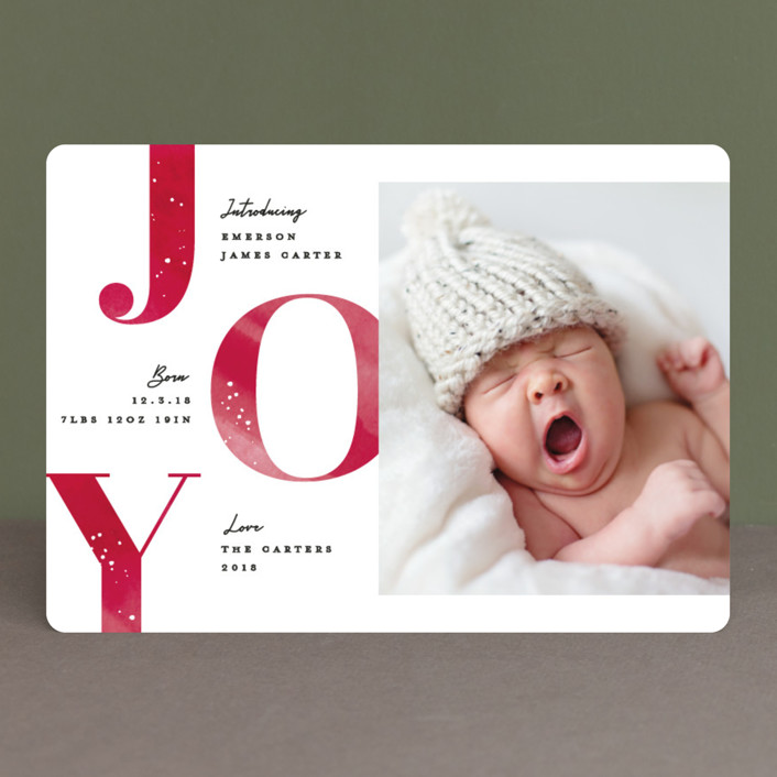 """""""Joyous intro"""" - Holiday Birth Announcements in Festive by Creo Study."""