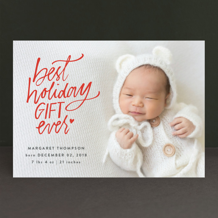 """Best Holiday"" - Holiday Birth Announcements in Pomegranate by Lea Velasquez."