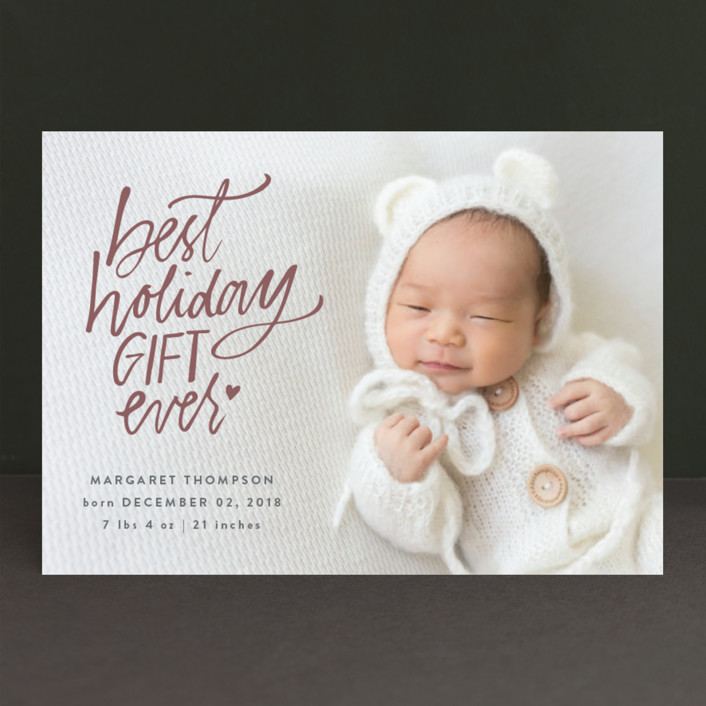 """""""Best Holiday"""" - Holiday Birth Announcements in Pomegranate by Lea Velasquez."""