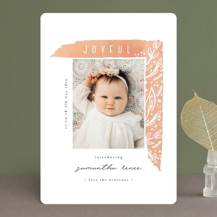 """asymmetrical frame"" - Holiday Birth Announcements in Sorbet by Summer Winkelman."