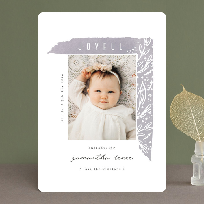 """asymmetrical frame"" - Holiday Birth Announcements in Sorbet by Summer Winkelman."